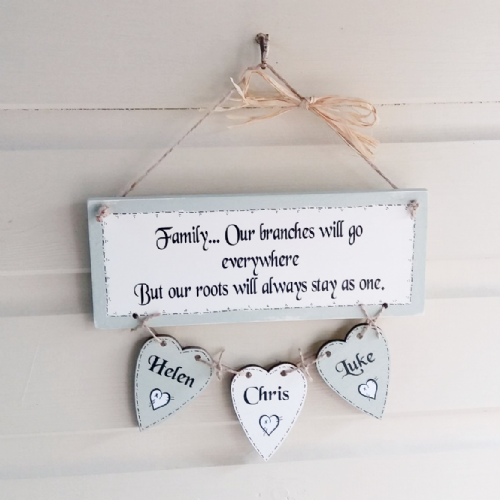 Hand Made Personalised Family Wooden Plaque